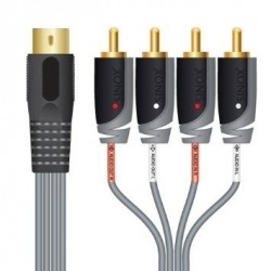 5 pin DIN to 4 x RCA cable - input and output for B&O, Naim and Quad